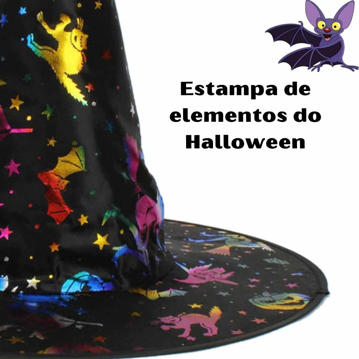 Chapéu de Bruxa Preto Estampado Teia