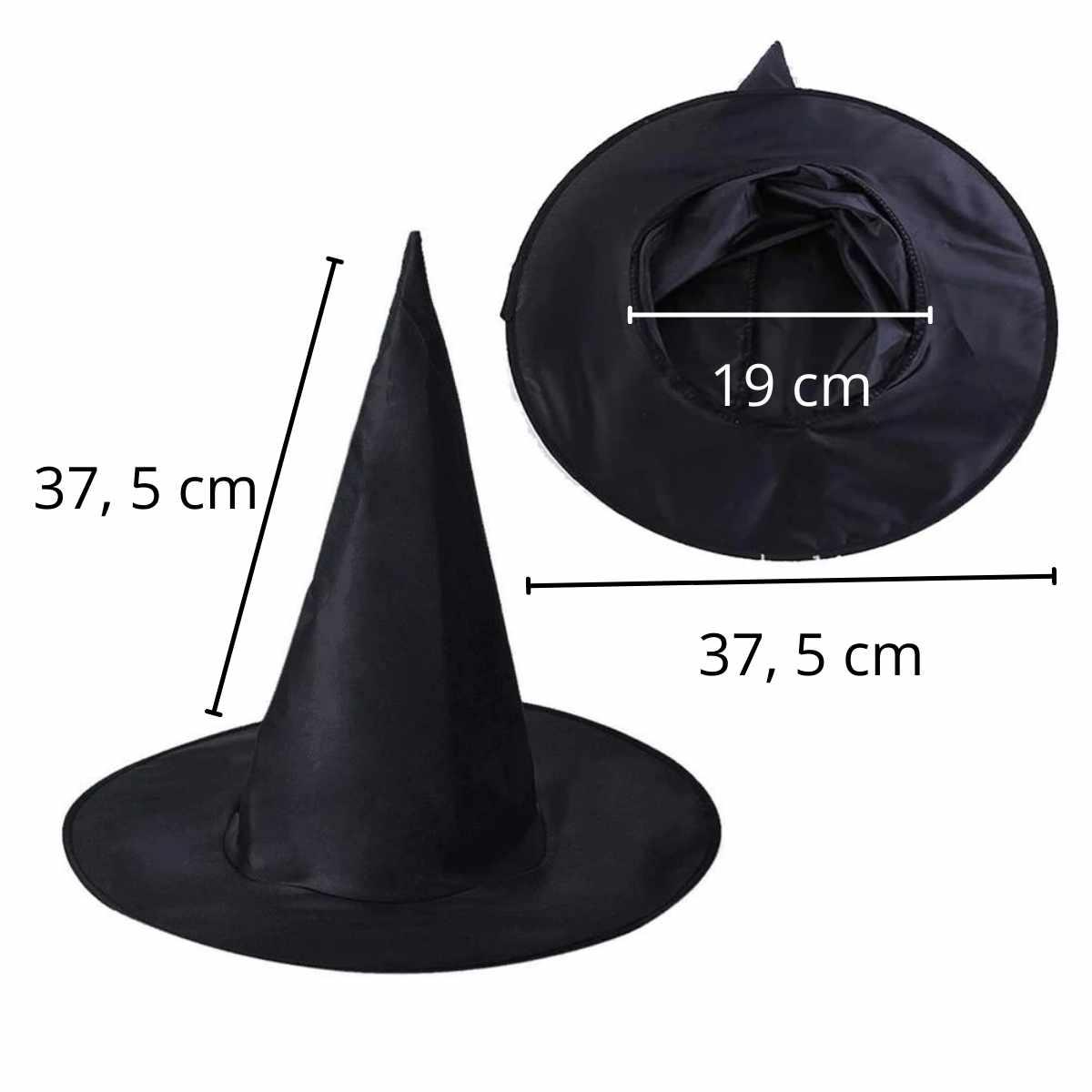 Chapéu de Bruxa Preto Liso
