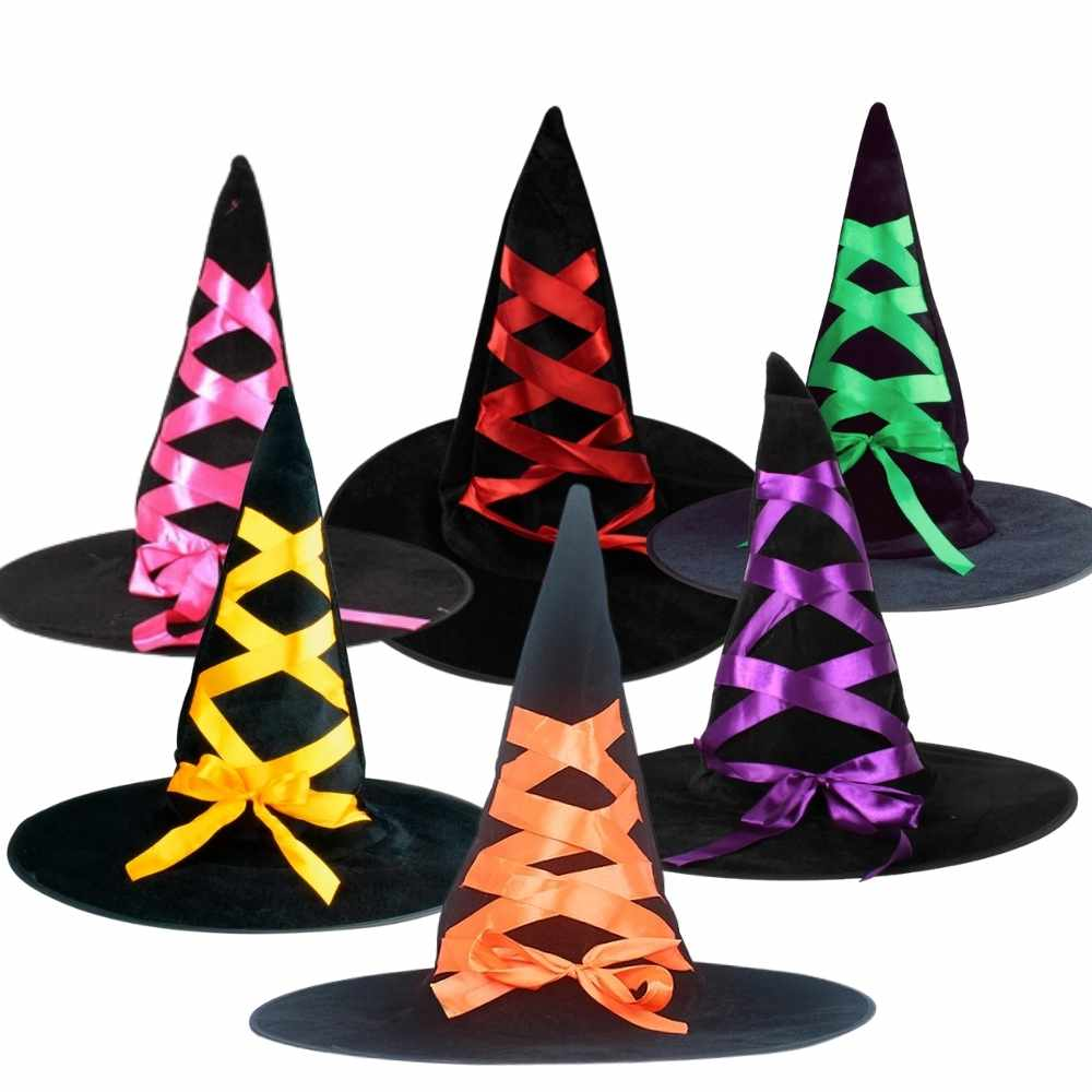 Chapéu de Bruxa Veludo com Fita