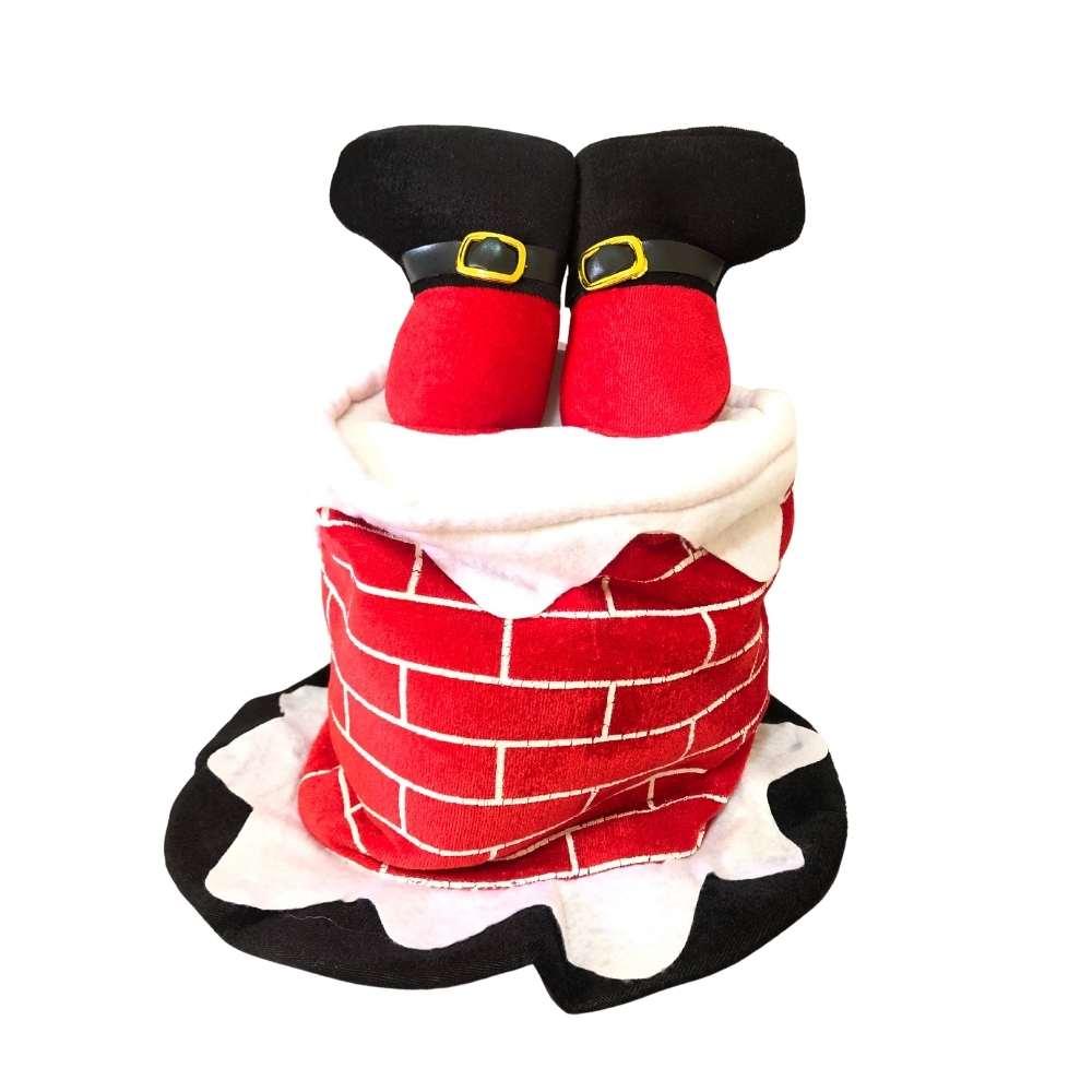 Chapéu Papai Noel Entalado na Lareira (Liquidação)