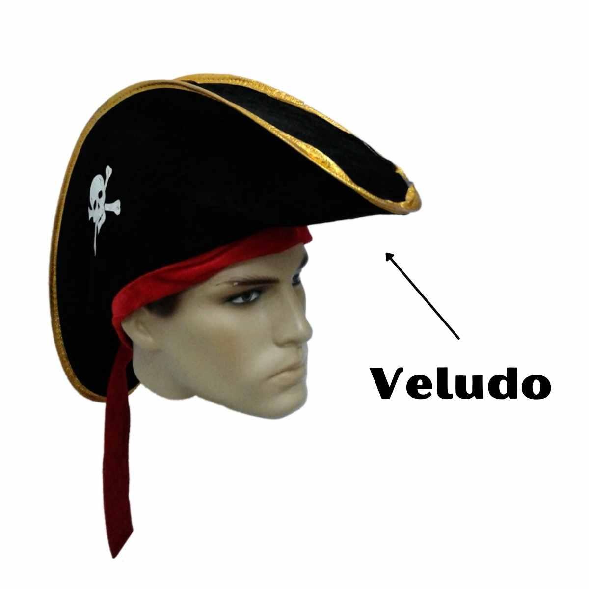 Chapéu Pirata Veludo com Fita Vermelha
