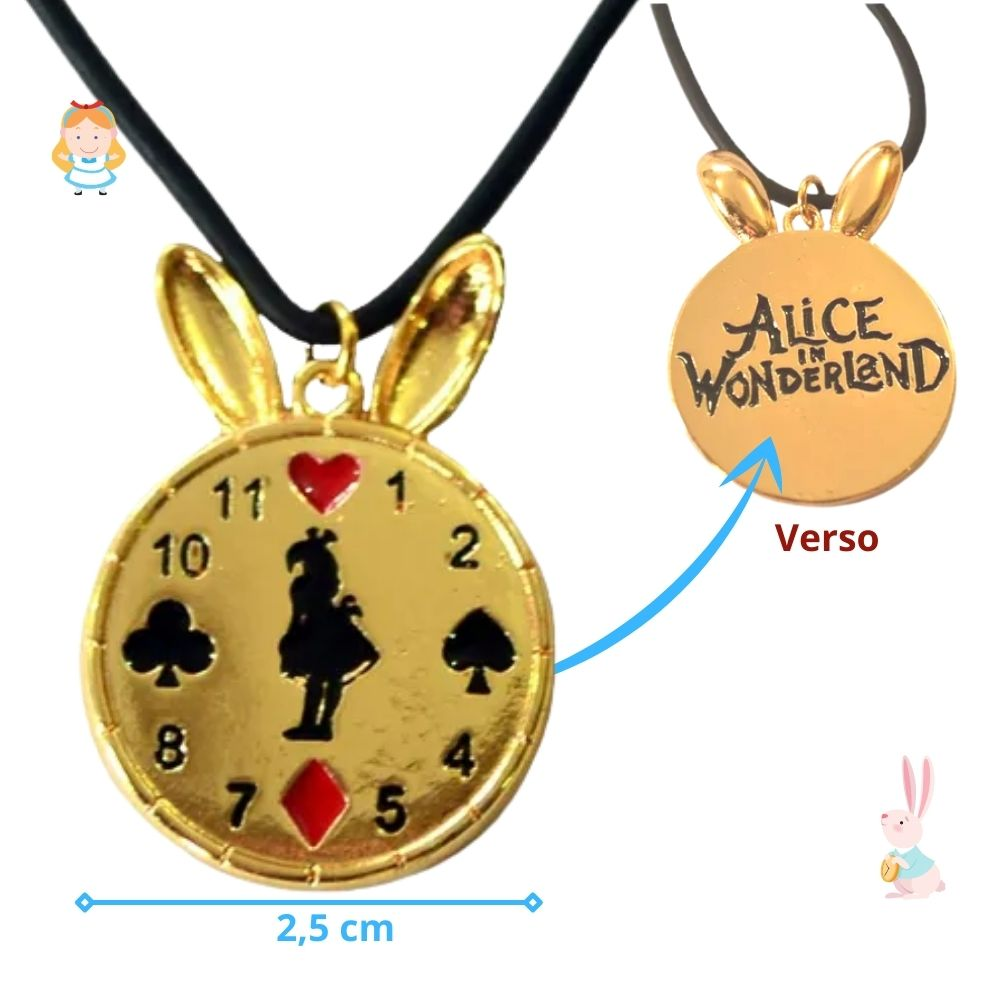 Colar Alice no País das Maravilhas Relógio