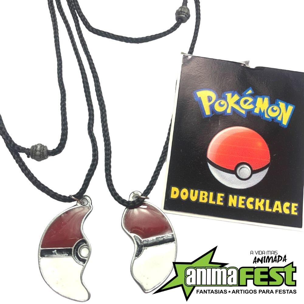 Colar Duplo Pokebola Pokemón c/ Adesivo Brinde
