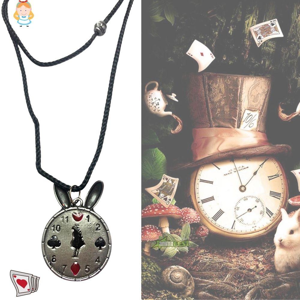 Colar Relógio Alice no País das Maravilhas c/ Adesivo Brinde