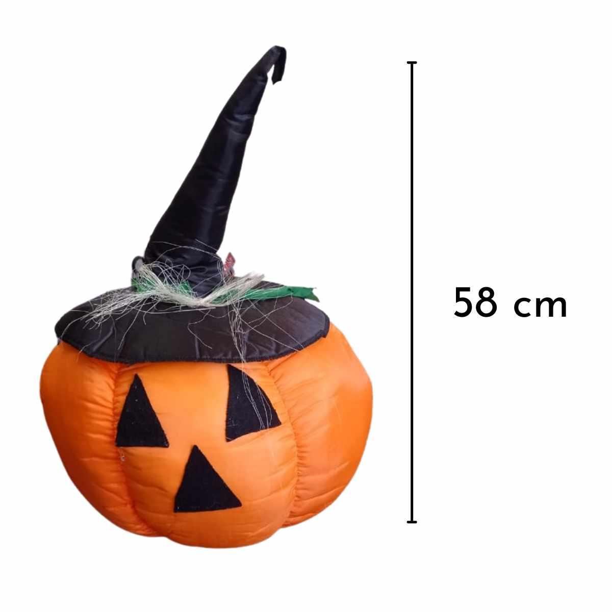 Enfeite Abóbora com chapéu Decorativa Halloween 58cm (Peso Porta)