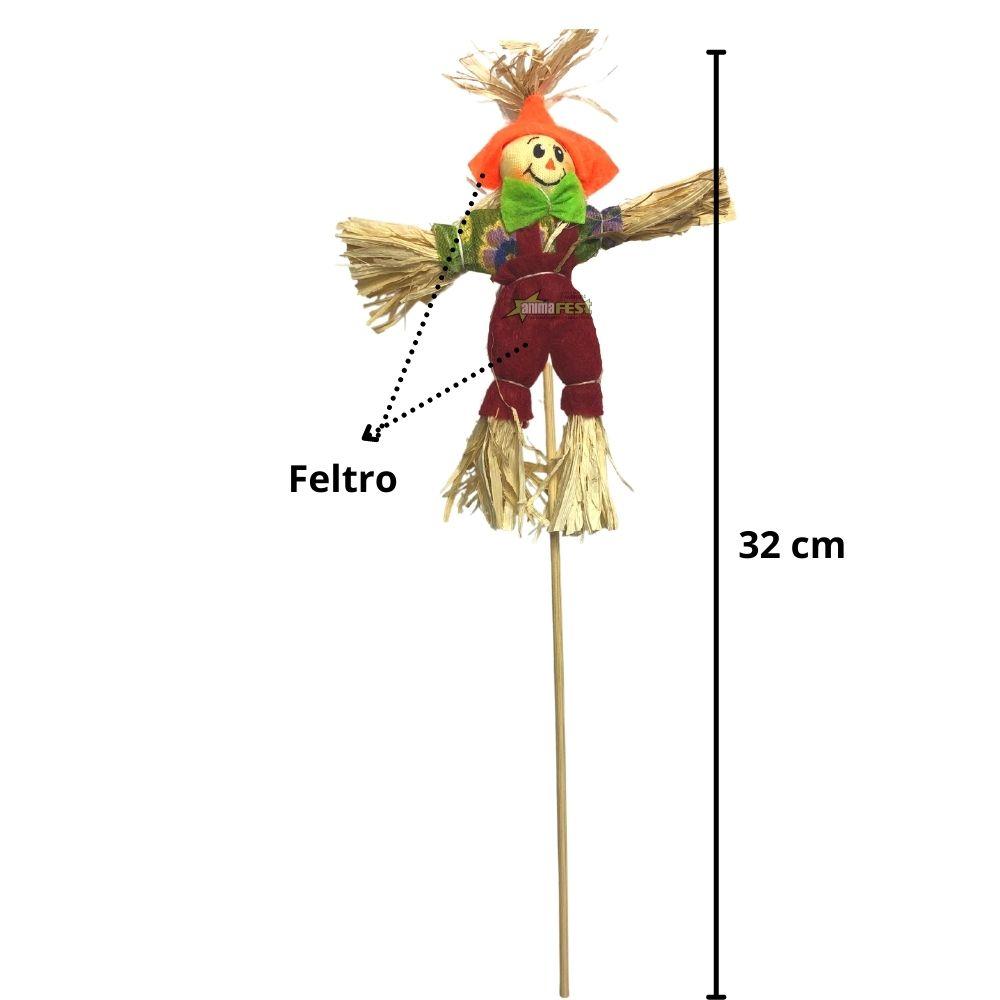 Enfeite Espantalho Junino 32cm c/ Palito