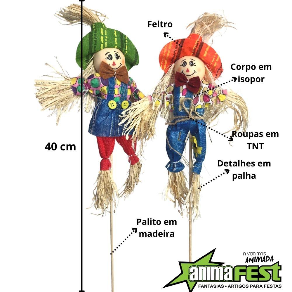Enfeite Espantalho Junino 40cm c/ Palito