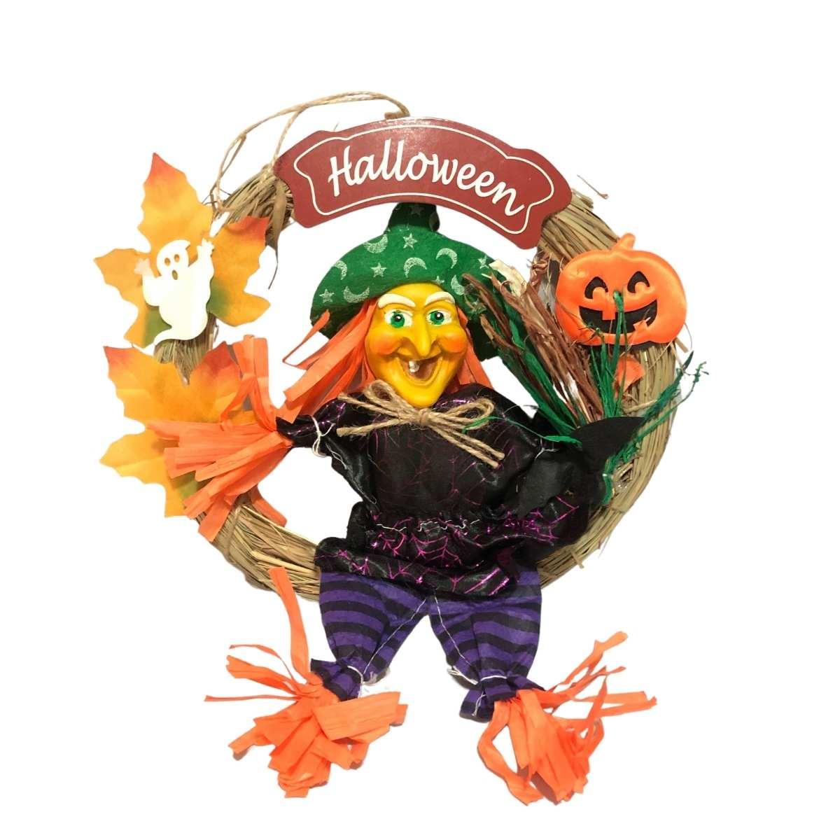 Enfeite Guirlanda Bruxa Halloween 35cm