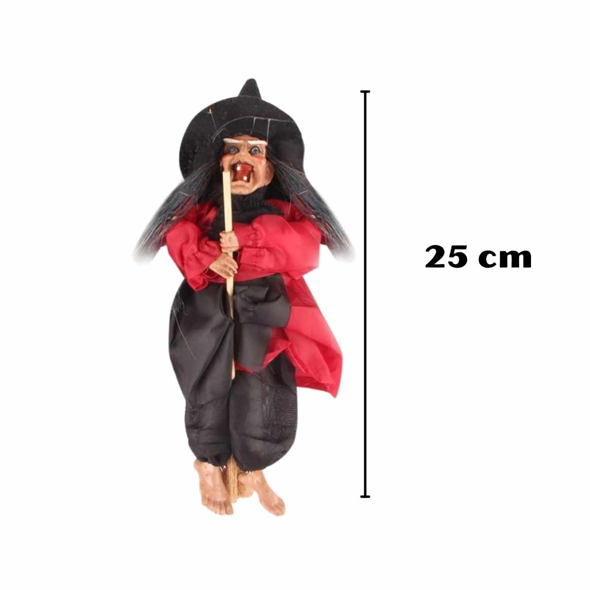 Enfeite Mini Bruxa Voando Som/Luz 25cm