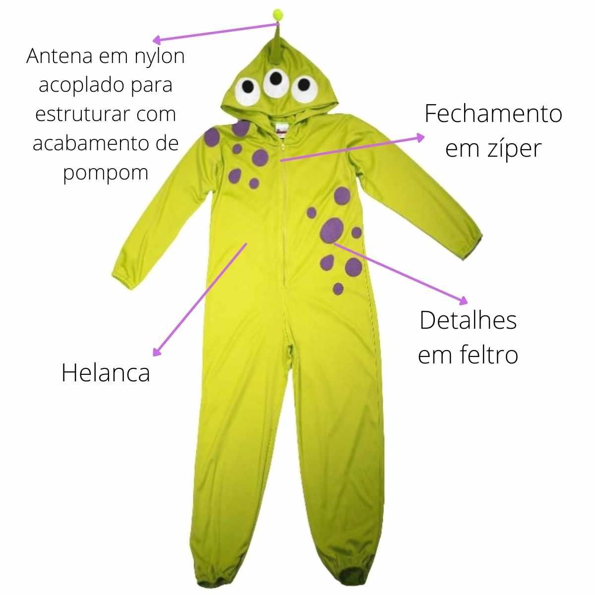 Fantasia Alienigena Macacão Longo Infantil (FF)