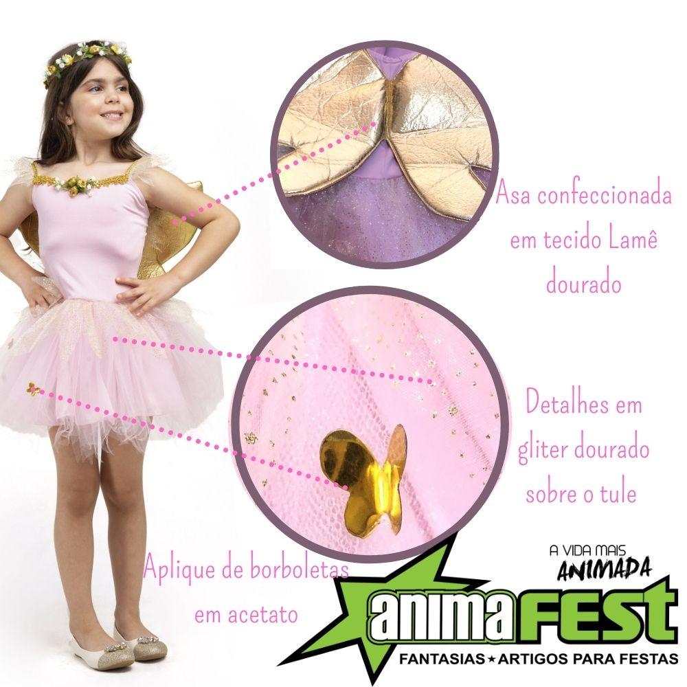 Fantasia Borboleta Rosa Infantil FF