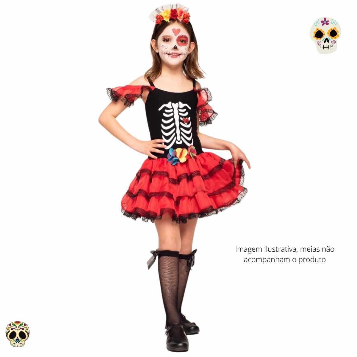 Fantasia Caveirinha Vestido Infantil (FF)