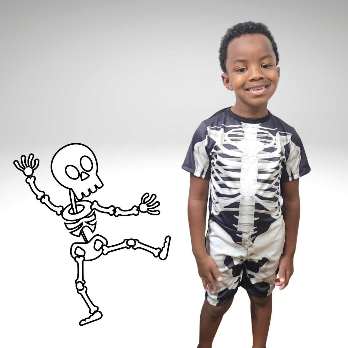 Fantasia Esqueleto Infantil Macacão Pop