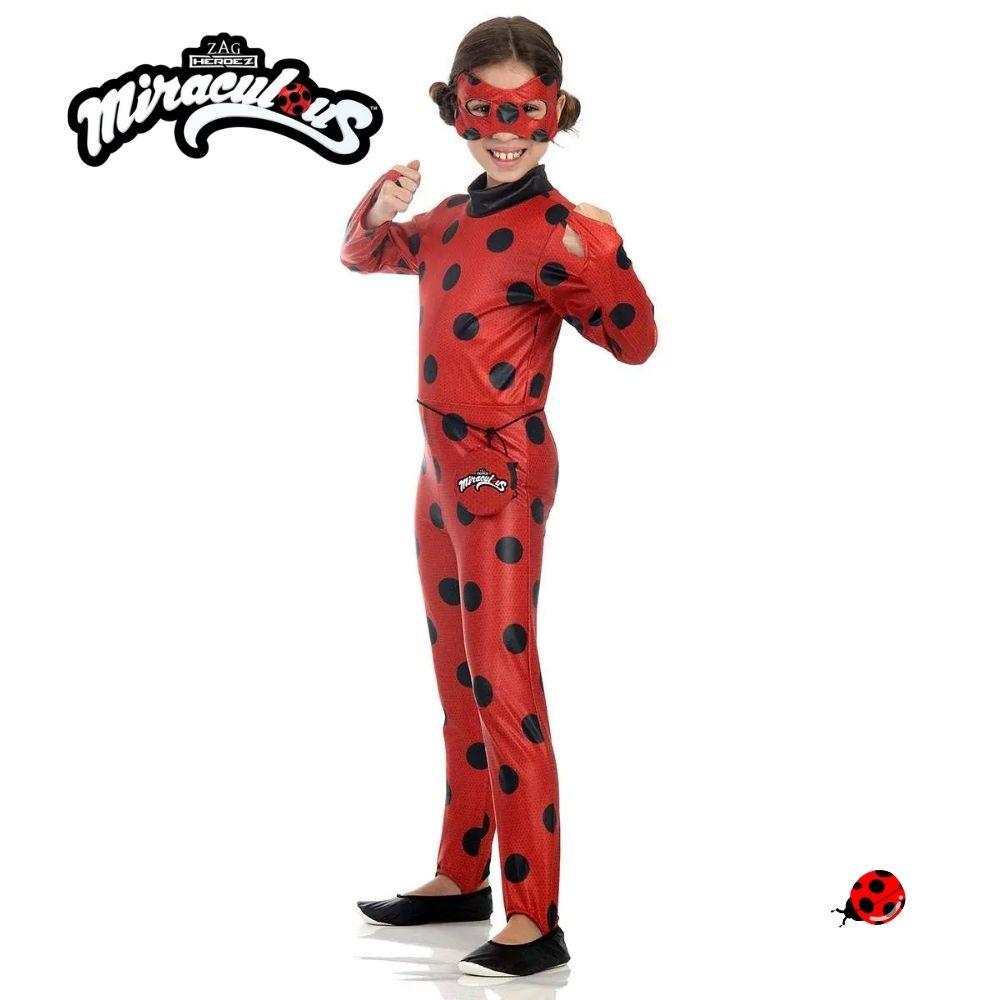 Fantasia Ladybug Macacão Longo Infantil com Máscara e Pochete (SL)