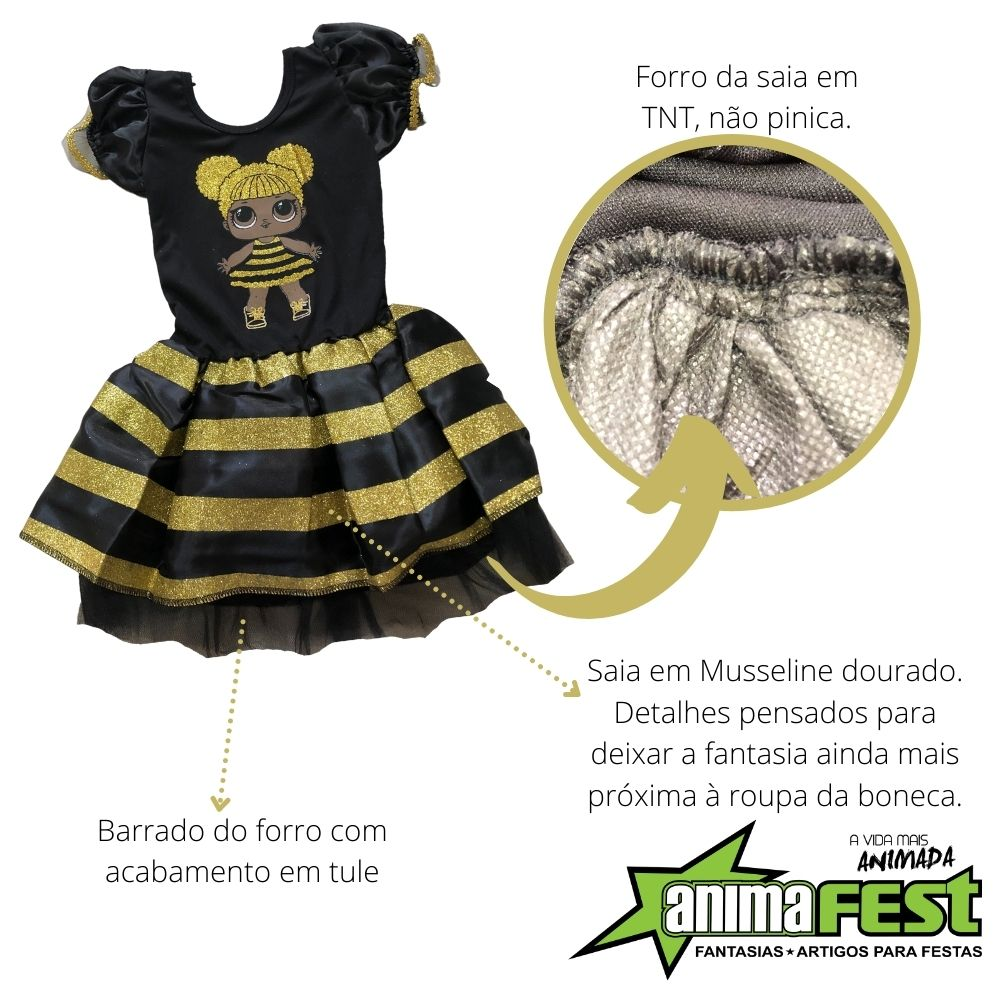 Fantasia LOL Dourada Infantil Queen Bee