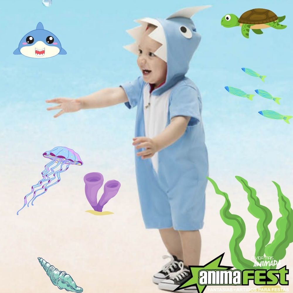 Fantasia Tubarão Baby Azul