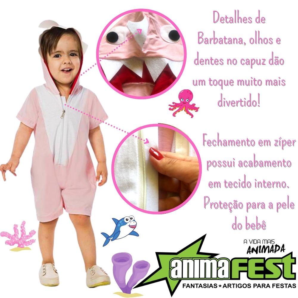 Fantasia Tubarão Baby Rosa