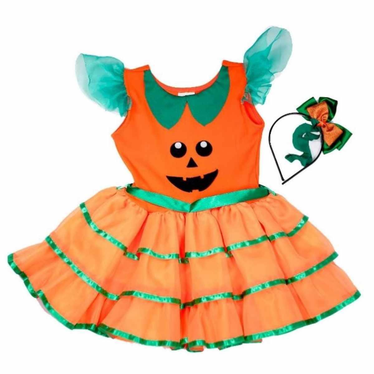 Fantasia  Vestido Abobora Laranja Infantil (FF)