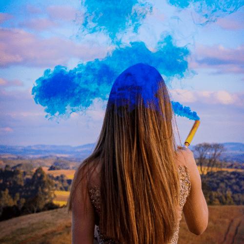 Fumaça Azul para Chá de Revelação c/2