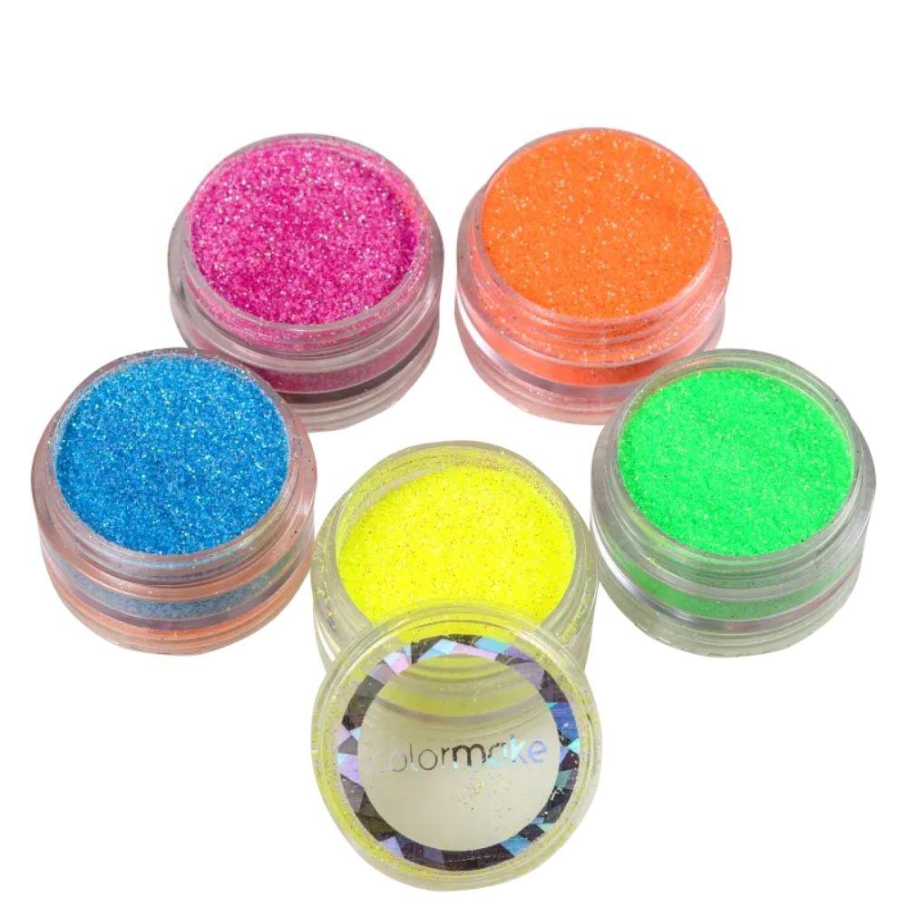 Glitter em Pó Fluorescente (Iridescente) com 5 Cores
