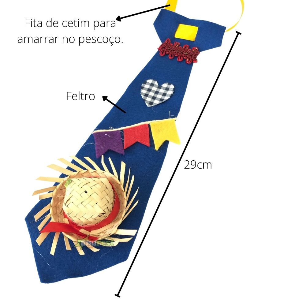Gravata Caipira Junina Artesanal 29cm SV