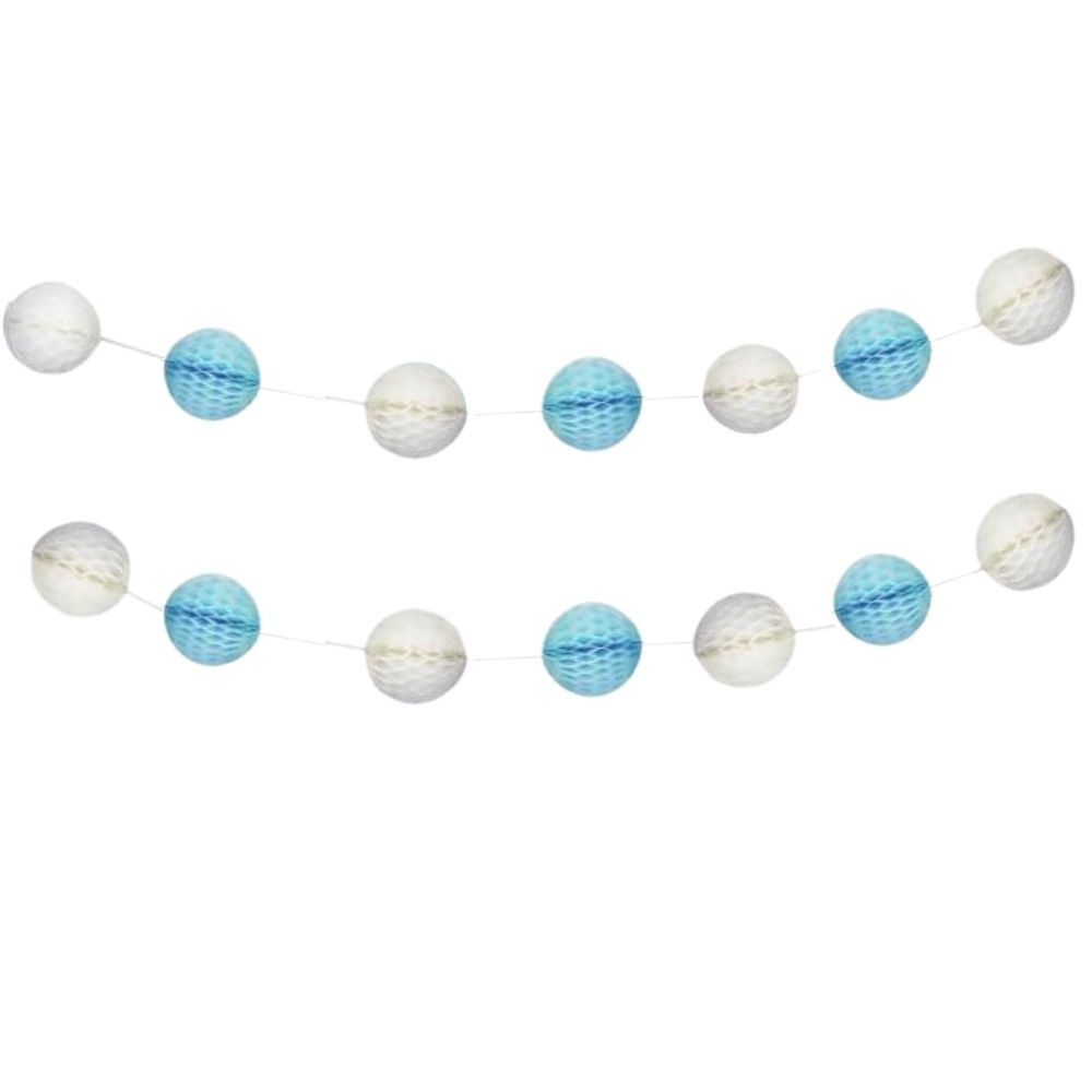Guirlanda Decorativa Bolas Favo de Abelha Azul /Bco c/4 metros