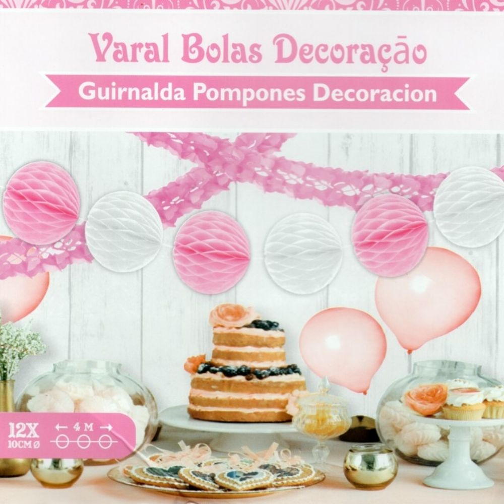 Guirlanda Decorativa Bolas Favo de Abelha Rosa/Bco c/4 metros