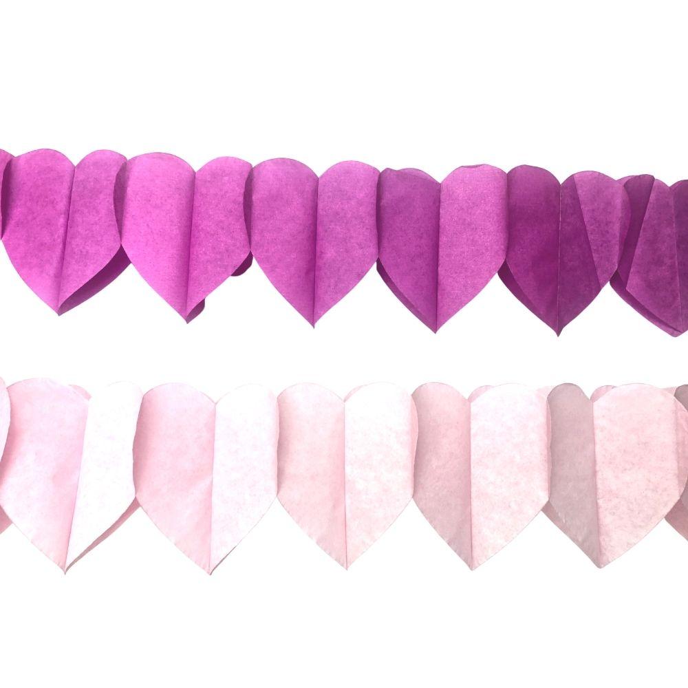 Guirlanda Decorativa Corações Rosa c/6 unid