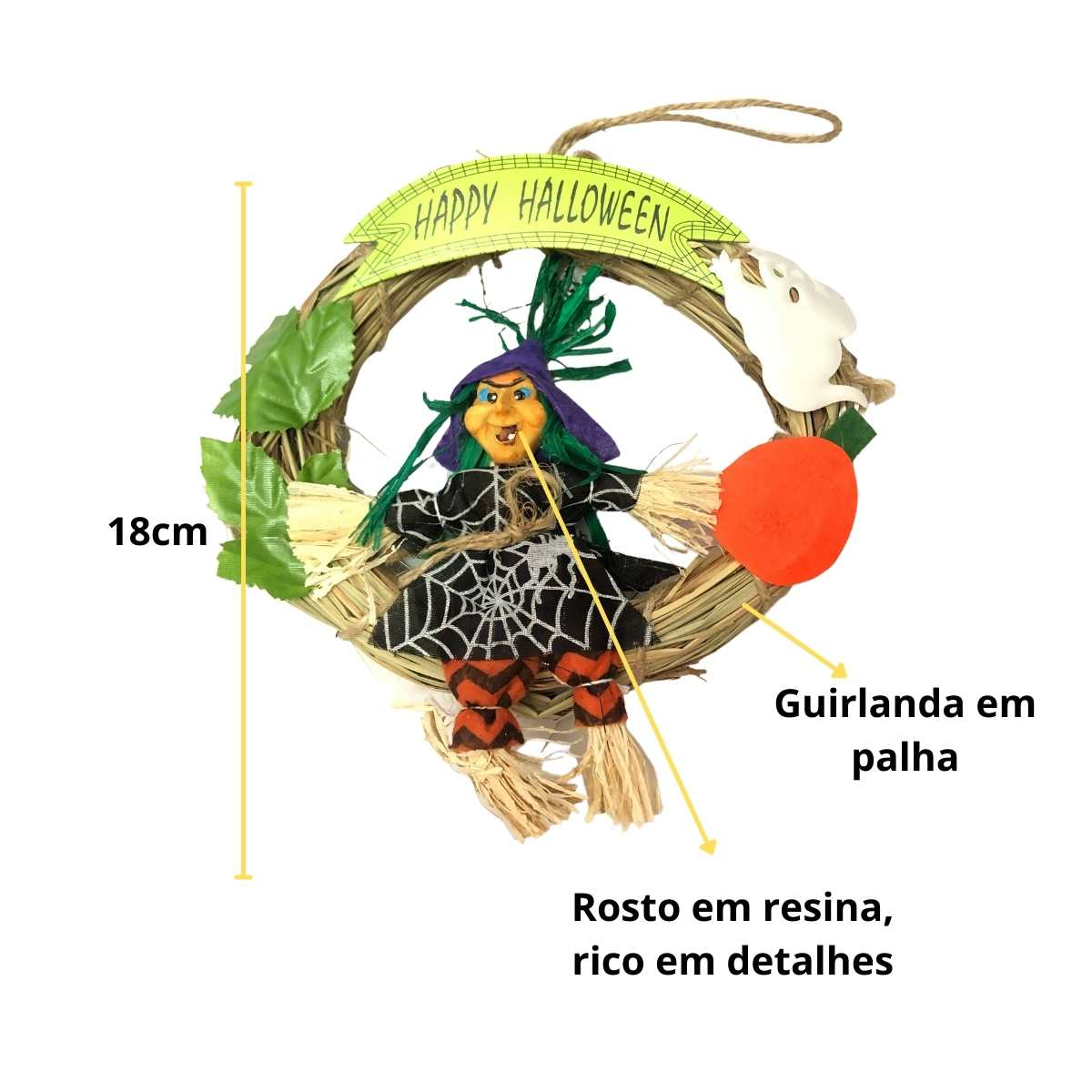 Guirlanda Redonda Bruxa 18cm