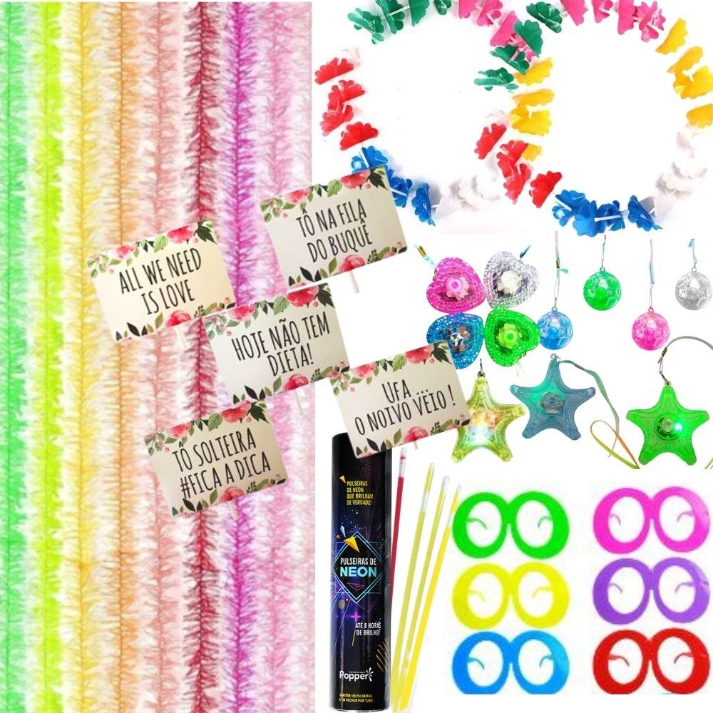 Kit Animafest Alegria 1 Tubo de Neon + 10 Colares Pisca + 10 Marabus + 10 Plaquinhas + 10 Óculos + 1 dz Colares Havaiano