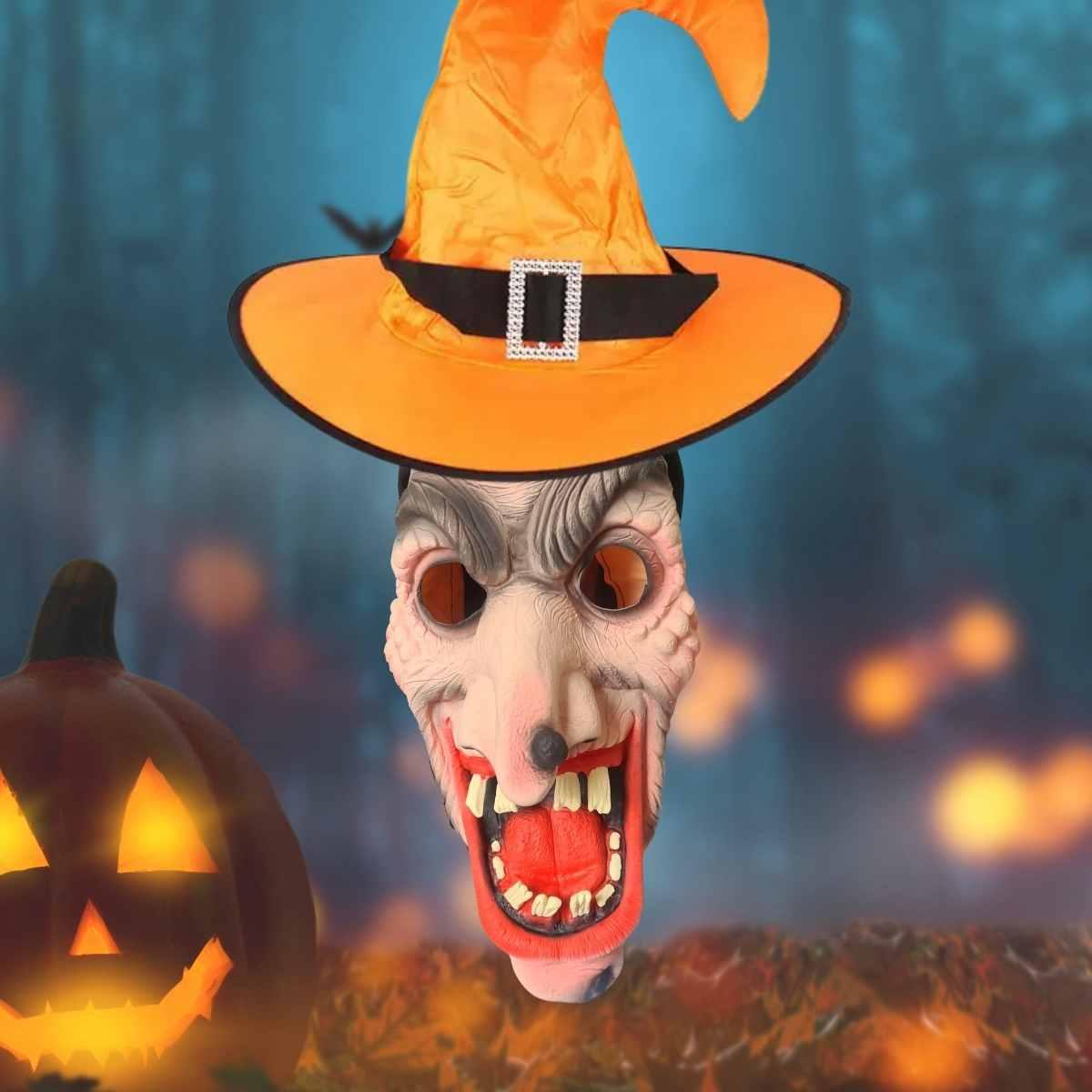 Kit Bruxa Halloween (Máscara Látex + Chapéu com Fivela)