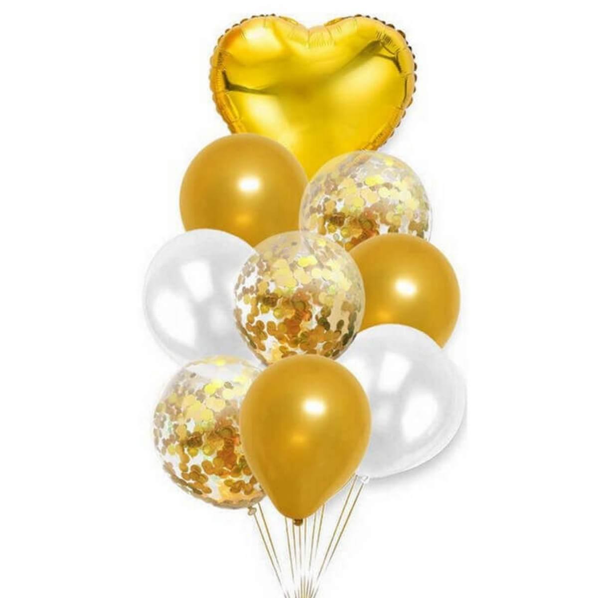 Kit Buquê de Balões Dourados c/ 9 peças