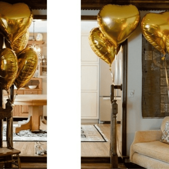 Kit c/ 8 Balão Coração Metalizado Dourado18 Polegadas (45 cm) Vazio