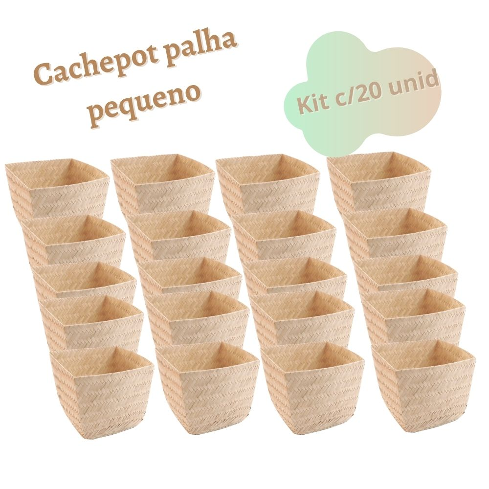 Kit Cachepot Junino em Palha Miniatura 6x8 cm com 20 unidades