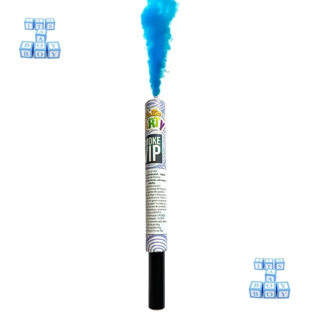 Kit Chá de Revelação Menino 4 Pó Colorido Azul + 2 Bastão de Fumaça 20mm Azul