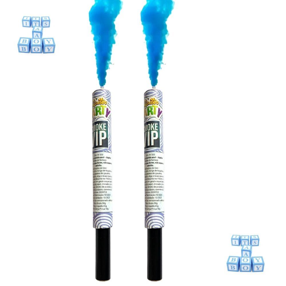 Kit Chá de Revelação Menino 4 Pó Colorido Zim Color Azul + 2 Bastão de Fumaça 20mm Azul