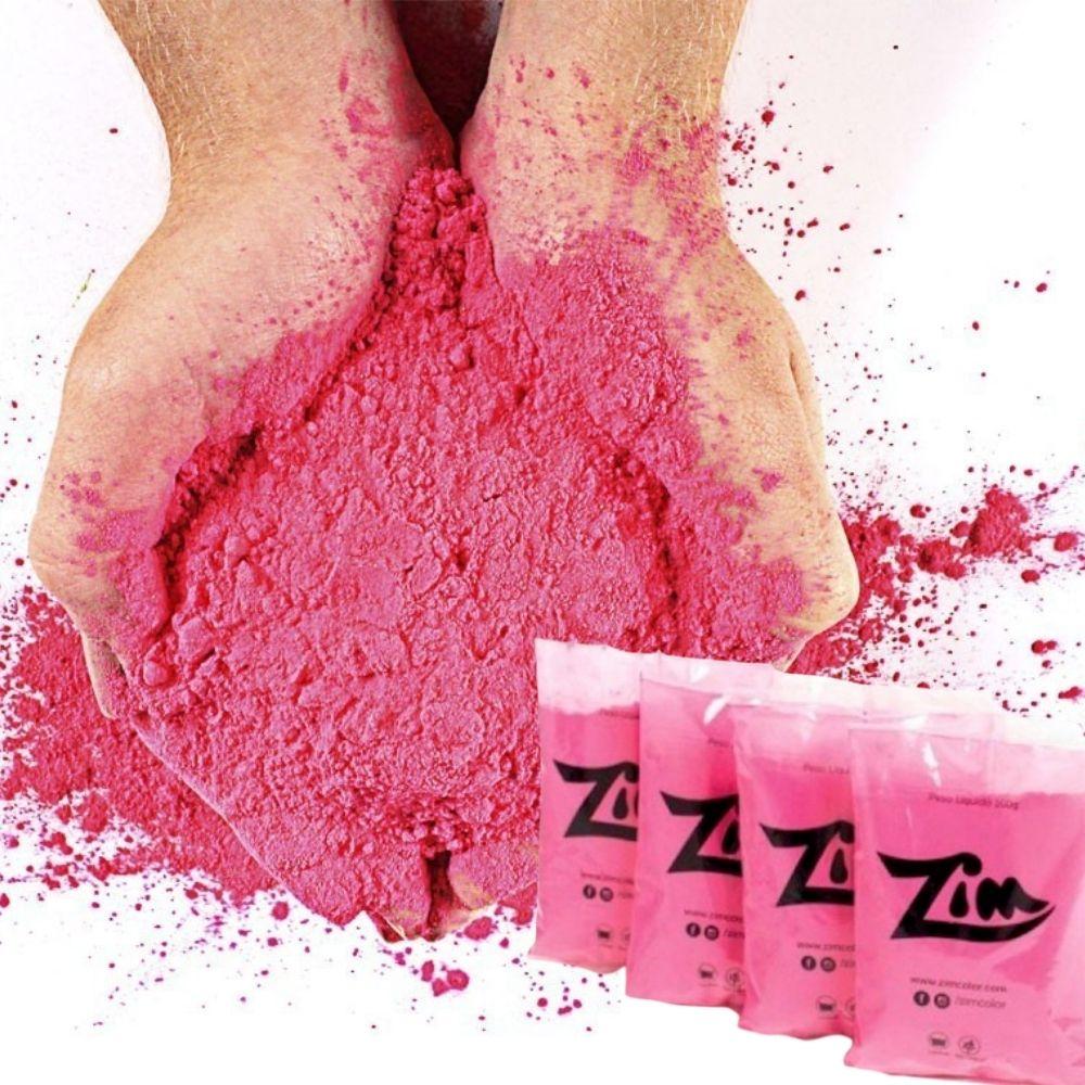 Kit Chá de Revelação Menina 4 Pó Colorido Zim Color Rosa + 2 Bastão de Fumaça 20mm Rosa