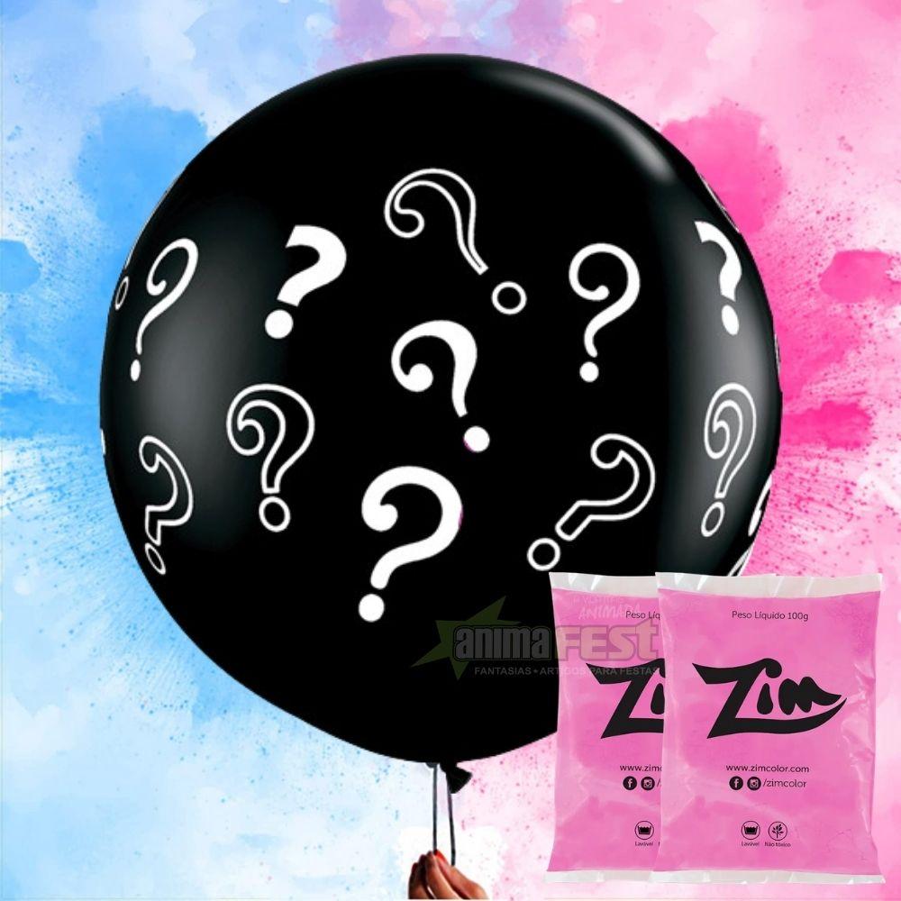 Kit chá revelação Menina - Balão gigante + 2 Pó Colorido Rosa