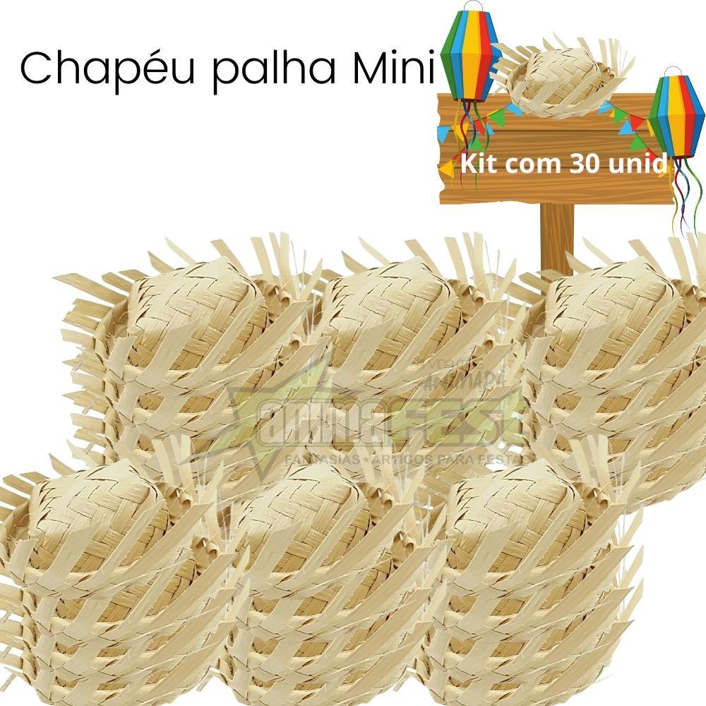 KIT Chapéu Junino de Palha Miniatura c/30