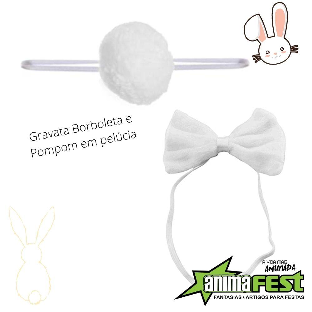 Kit Coelhinha Branco e Rosa Adulto (Saia de tule + kit coelho)
