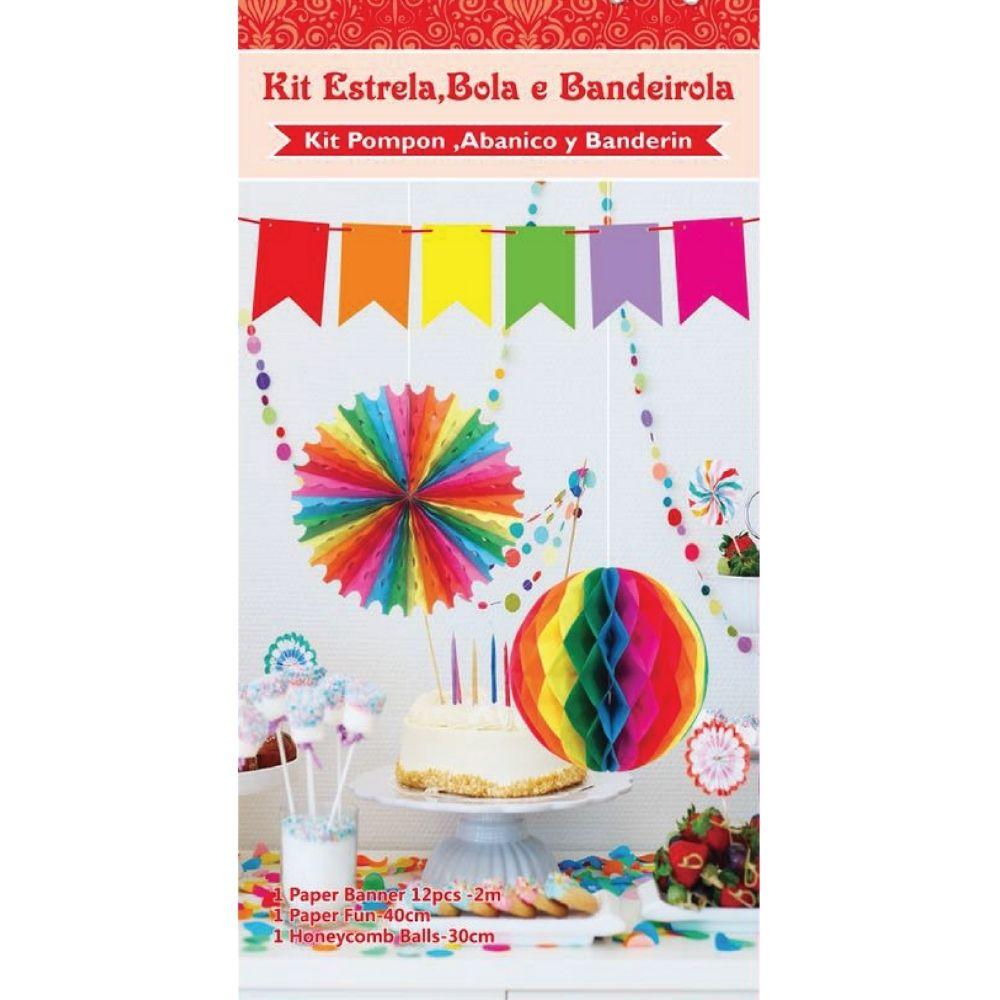 Kit Decoração  Bandeira, Bola, Estrela c/3 unid