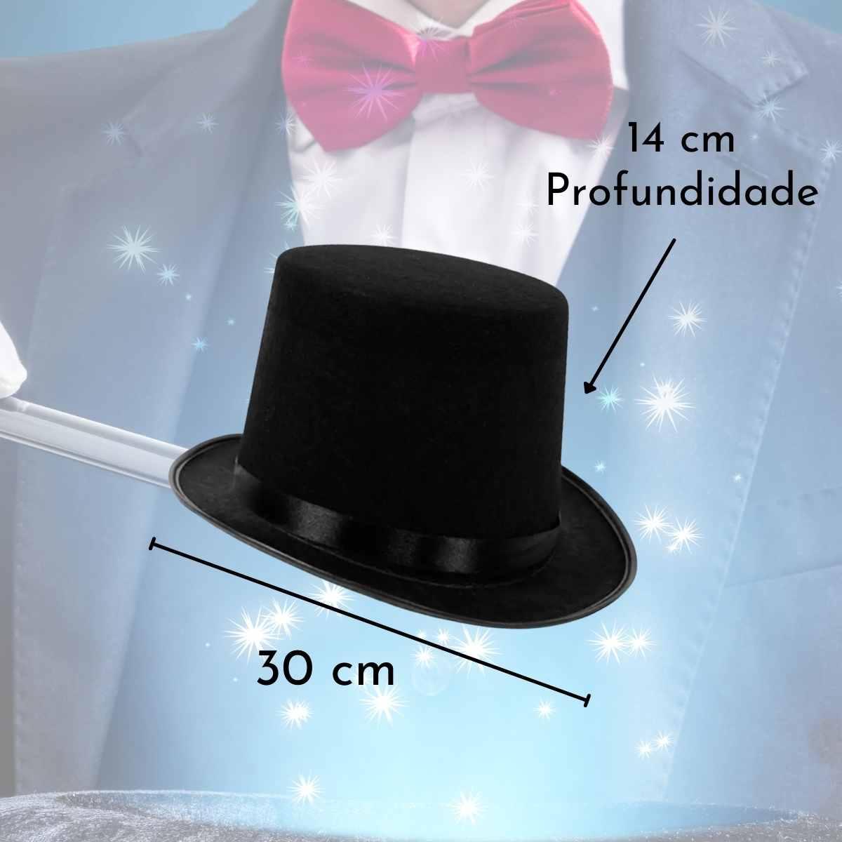 Kit Mágico Luxo (Capa + Varinha + Cartola + Luva Branca)