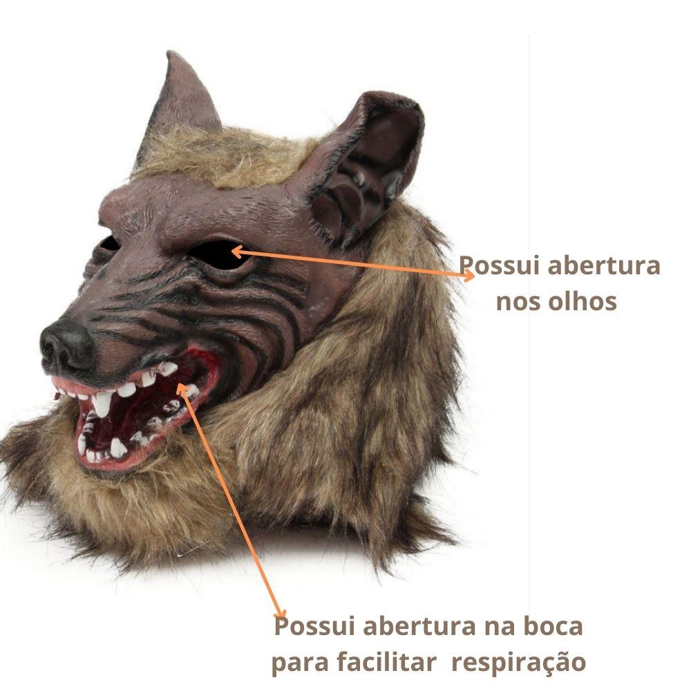 Kit Máscara Lobo Pelúcia Latex + Luva Lobo Peluciada - 22cm