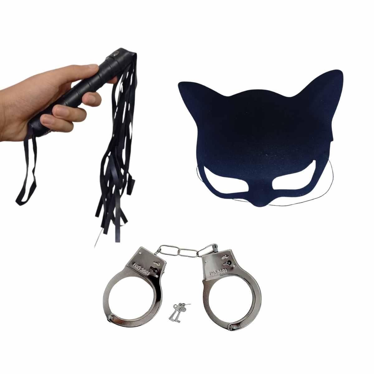 Kit Mulher Gato Sensual (Máscara + Chicote + Algema)