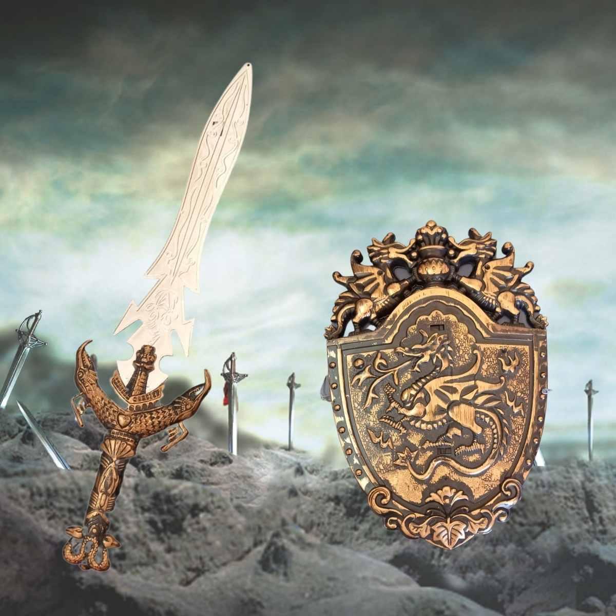 Kit Medieval - Espada e Escudo com Inmetro