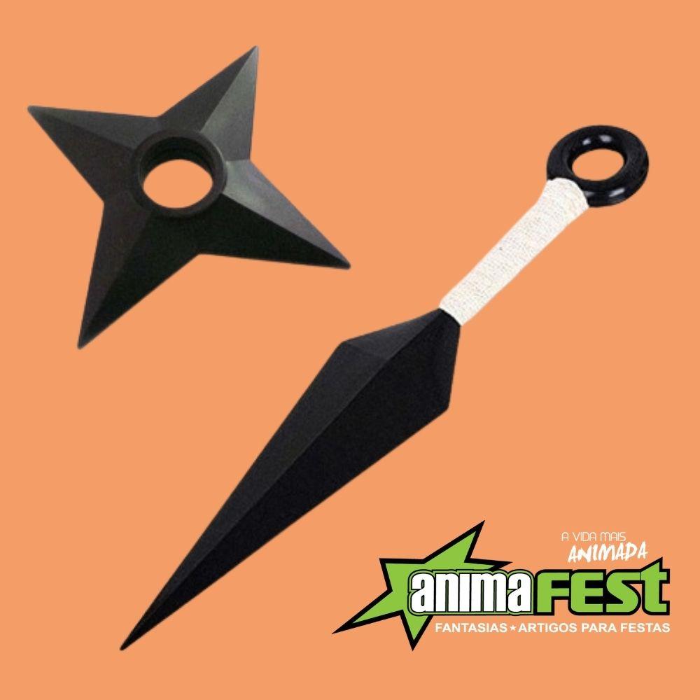 Kit Naruto Kunai com Shuriken Plástico