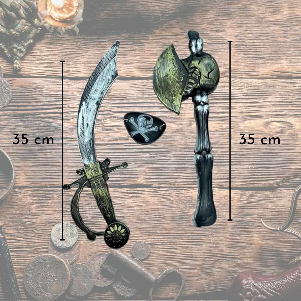 Kit Pirata Armas (Kit Pirata (Espada,Óculos e Tapa Olho) + Luneta plástico + gancho pirata)