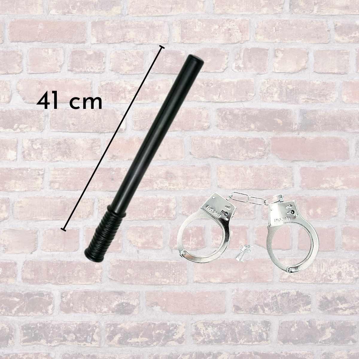 Kit Policial Adulto Feminino (Saia de Tule Preta + Quepe + Algema + Cassetete + Suspensório Preto + Óculos Policial)