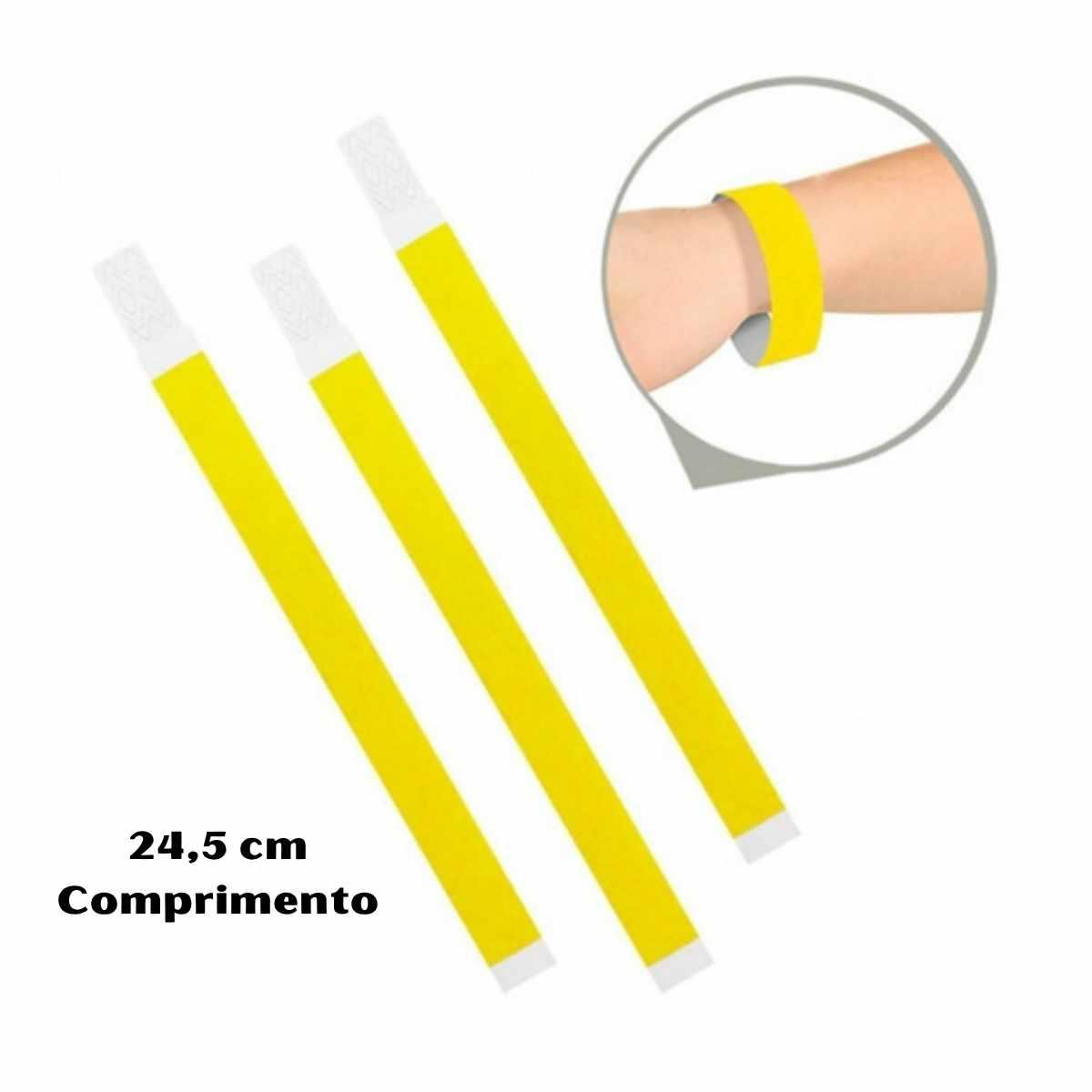 Kit Pulseira de Identificação c/100 - Amarelo