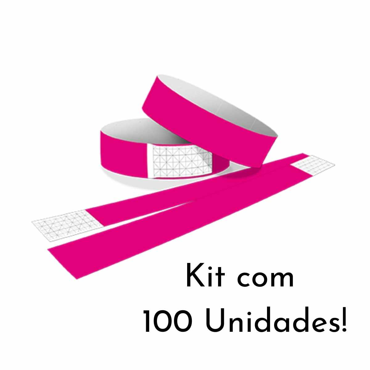 Kit Pulseira de Identificação c/100 - Pink